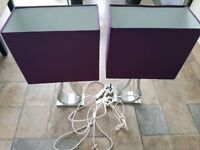 Ikea klabb table lamps with purple shades...