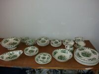 Masons Ironstone Dinner Service Green Fruitbasket 31 pieces