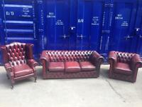 CHESTERFIELD 3 piece suite genuine antique vintage leather oxblood