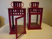 Set of 2 Red Garden Lanterns