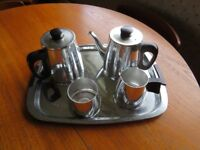 Silver plated tea service with tray