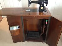 "Singer Sewing Machine (1940""s) within cupboard"