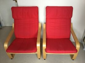 Two excellent condition red Ikea Poang easy chairs