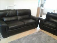 Brown Leather 3 seat sofa and armchair