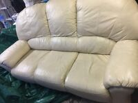 Three Seater Cream Leather Sofa - Offers considered...