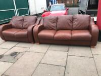 Brown Leather Three & Two Seater Brown Sofa