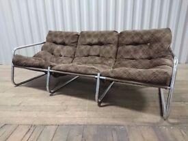 Genuine 70s Retro Brown & Chrome Pieff/Klinsmann Style Sofa (+ Free Chair!) £100