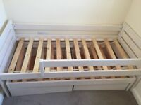 Single cabin bed with storage and pull out bed