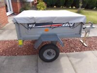 COMPACT TRAILER COMPLETE WITH COVER AND NEW SPARE WHEEL, VERY GOOD CONDITION