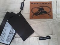"BRAND NEW ""DOLCE & GABBANA"" DESIGNER MENS BIEGE JEANS - COST £170 / STILL GOT TAGS ON / W:38"" /L:34"""