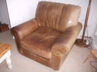 3 Seater Leather Sofa with Arm Chair