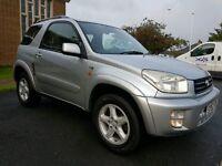 2002 52 REG TOTOYA RAV4, 2.0 VVTI NRG 4X4, RARE 3 DOORS AUTOMATIC. HPI CLEAR, FULL MOT, NEW SERVICE