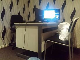 Office table two chsirs one easy chair adj