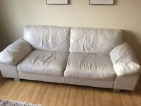 DFS 3 seater leather white sofa