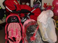 pram and car seat and bath+mosses basket for sale