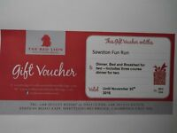 Gift Voucher for the Red Lion Hotel Whittlesford. Dinner, bed and breakfast for two.