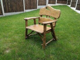 Solid, heavy, Handmade Wooden Garden Furniture Oak - Armchair