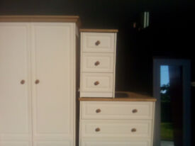 matching wardrobe, chest of drawers, bedside unit and freestanding mirrow as new.