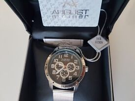 Men's August Steiner AS8115SSB Multifunction Stainless Steel Mesh Watch