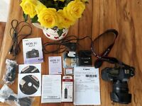 Used Canon EOS 5D Mark II camera with Ultrasonic Macro 0.45 24-105mm lens and hood. Good Condition.