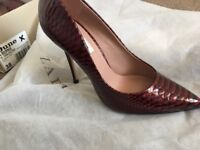 Dune high heel shoes and matching clutch maroon colour with box