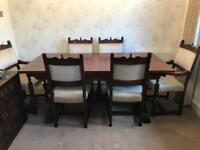 Solid Oak Old Charm Dining Table, 4 x Chairs, 2 x Carvers