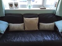 Navy Leather 3 seater and matching pouffe