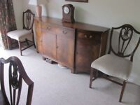 Dining room Set comprising,extended table 8 chairs( incl two carvers) sideboard and display cabinet