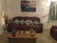 3 seater reclining sofa, brushed faux leather, good condition