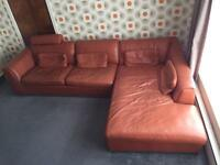 LEATHER SUITE with CHAISE LONGUE, ARMCHAIR & POUFFE sofa couch settee