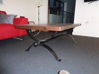 LARGE BESPOKE COFFEE TABLE WITH RUSTIC PINE TOP