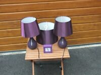 Purple coloured Lampshade and Table Lamps
