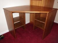 OFFERS WELCOME - Wooden Corner Desk with shelves
