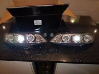 VAUXHALL VECTRA B 99-02 - LED BLACK ANGEL EYE PROJECTOR FRONT HEADLIGHTS