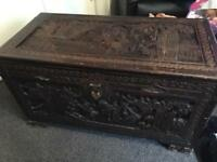 Carved wooden Ottoman