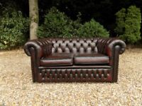 Ox Blood Red Leather Chesterfield Club Tub 2 Seater Sofa