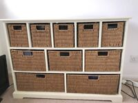 Cream Wooden Sideboard with Ten Wicker Baskets