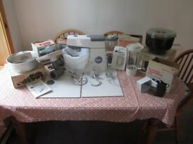 Vintage Kenwood Chef Food Mixer with many attachments.