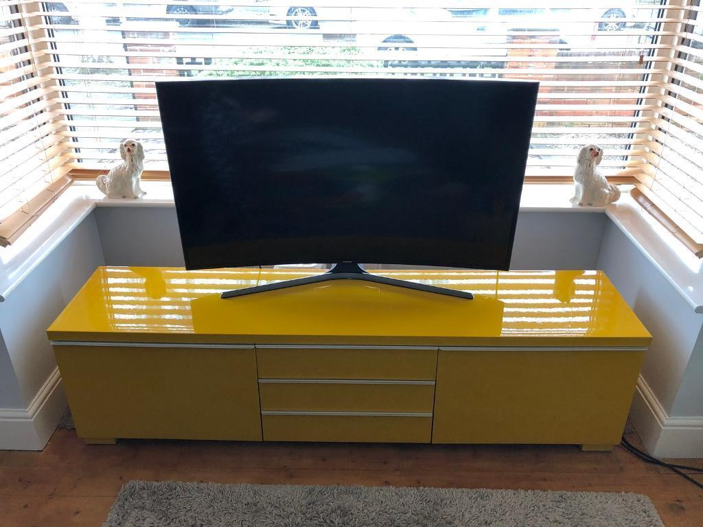 Ikea high gloss yellow multi media storage unit tv stand cabinet side board