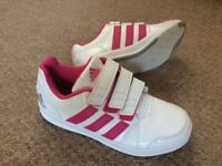 Adidas girls pink/white trainers