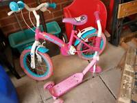 Children's Hello Kitty bike and scooter