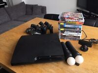 PS3 160GB Console + 4 Controllers + 13 Games + 2 Move Controllers + Eye camera