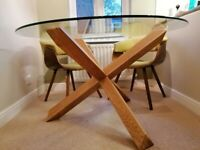 Round glass dining table with 4 x chairs