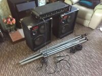 PA Sound System: Amplifier, Speakers & Stands (includes microphones & leads)
