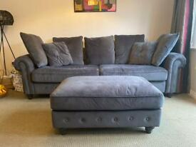 Grey velvet 4 seater sofa with stool
