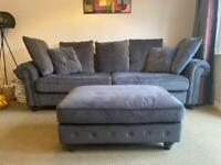 Grey velvet 4 seater sofa with stool