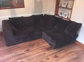 Corner sofa, chocolate material, available by 25th Jan at the latest.
