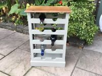 Solid Wood And Metal Wine Bottle Storage Table