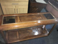 Fab Narrow Console Sofa Table Accent Stand with Lower Shelf For Entryway Foyer Hall Wood Glass