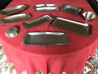 Selection of stainless steel serving dishes